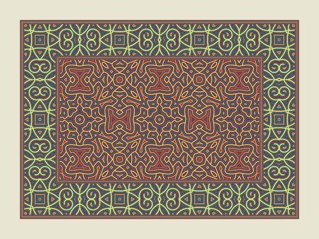 Asian traditional carpet. Colorful tribal ornament. Decorative pakistani rug. Ilustração