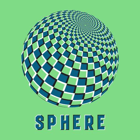 Abstract sphere symbol with motion illusion effect. Blue checkered globe emblem.