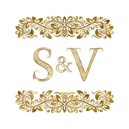 S and V vintage initials logo symbol. The letters are surrounded by ornamental elements. Wedding or business partners monogram in royal style. Foto de archivo - 149545413