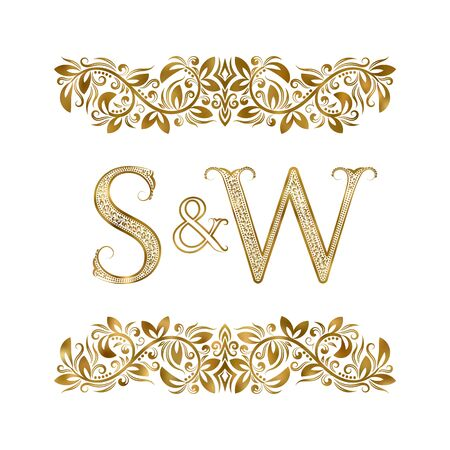 S and W vintage initials logo symbol. The letters are surrounded by ornamental elements. Wedding or business partners monogram in royal style. Foto de archivo - 149545414