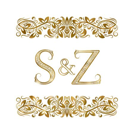 S and Z vintage initials logo symbol. The letters are surrounded by ornamental elements. Wedding or business partners monogram in royal style. Foto de archivo - 149545417