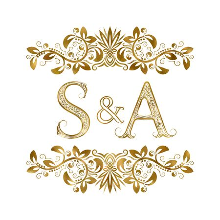 S and A vintage initials logo symbol. The letters are surrounded by ornamental elements. Wedding or business partners monogram in royal style.