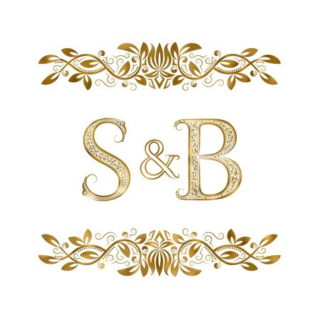 S and B vintage initials logo symbol. The letters are surrounded by ornamental elements. Wedding or business partners monogram in royal style.