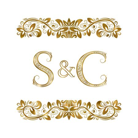 S and C vintage initials logo symbol. The letters are surrounded by ornamental elements. Wedding or business partners monogram in royal style. Foto de archivo - 149545420