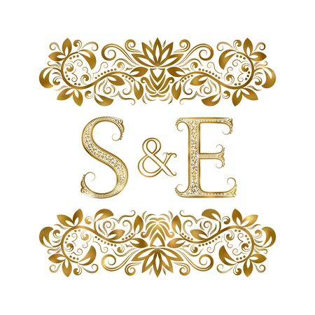 S and E vintage initials logo symbol. The letters are surrounded by ornamental elements. Wedding or business partners monogram in royal style. Foto de archivo - 149545422