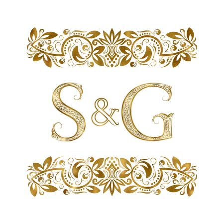 S and G vintage initials logo symbol. The letters are surrounded by ornamental elements. Wedding or business partners monogram in royal style.