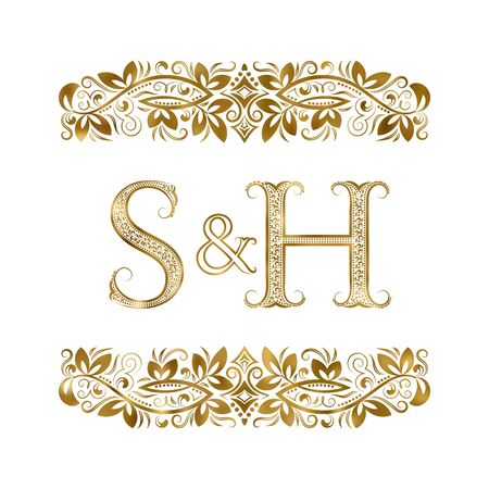 S and H vintage initials logo symbol. The letters are surrounded by ornamental elements. Wedding or business partners monogram in royal style.
