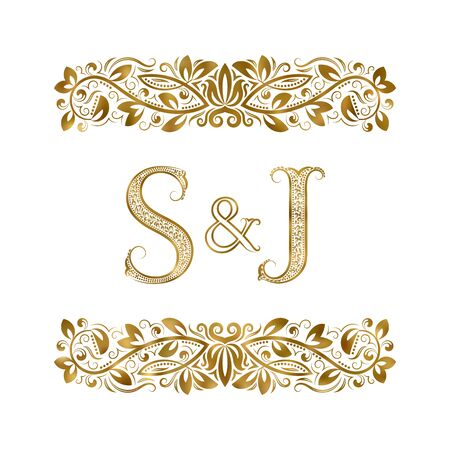 S and J vintage initials logo symbol. The letters are surrounded by ornamental elements. Wedding or business partners monogram in royal style. Foto de archivo - 149545427
