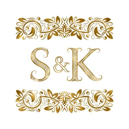 S and K vintage initials logo symbol. The letters are surrounded by ornamental elements. Wedding or business partners monogram in royal style.