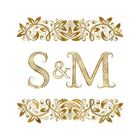 S and M vintage initials logo symbol. The letters are surrounded by ornamental elements. Wedding or business partners monogram in royal style.