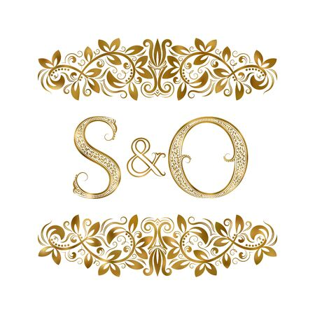 S and O vintage initials logo symbol. The letters are surrounded by ornamental elements. Wedding or business partners monogram in royal style. Foto de archivo - 149545436