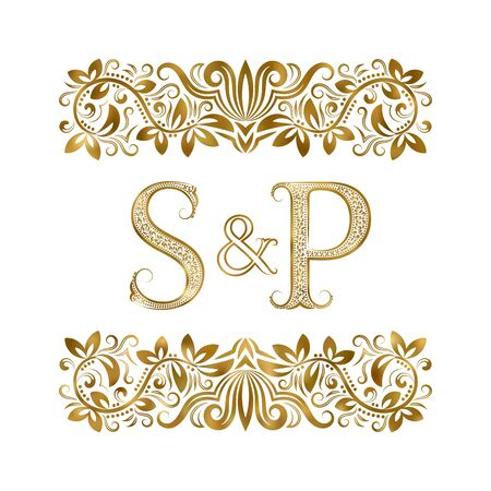 S and P vintage initials logo symbol. The letters are surrounded by ornamental elements. Wedding or business partners monogram in royal style. Foto de archivo - 149545438