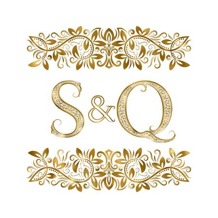 S and Q vintage initials logo symbol. The letters are surrounded by ornamental elements. Wedding or business partners monogram in royal style. Vectores