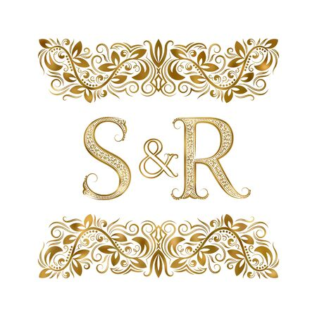 S and R vintage initials logo symbol. The letters are surrounded by ornamental elements. Wedding or business partners monogram in royal style. Foto de archivo - 149545441