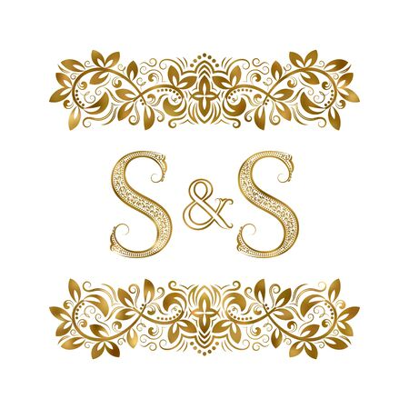 S and S vintage initials logo symbol. The letters are surrounded by ornamental elements. Wedding or business partners monogram in royal style. Foto de archivo - 149545442