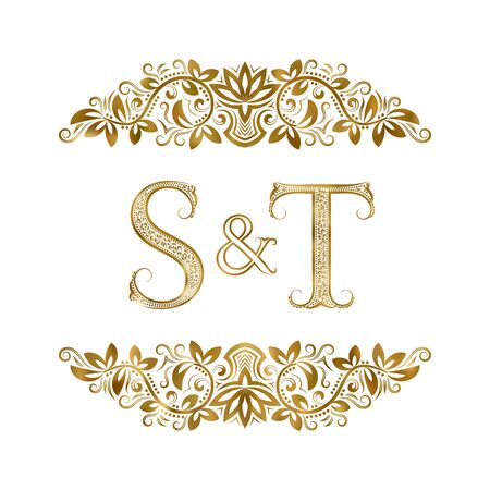 S and T vintage initials logo symbol. The letters are surrounded by ornamental elements. Wedding or business partners monogram in royal style. Foto de archivo - 149545444