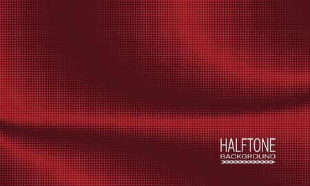 Halftone background design with array of red small squares on brown. Monochrome abstract banner template.