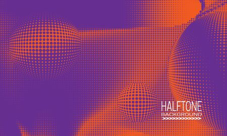 Halftone background design with purple orange space abstraction. Monochrome printing raster of editable colors.