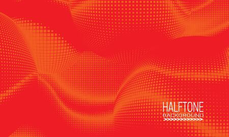 Halftone background design with red orange space abstraction. Monochrome printing raster of editable colors.