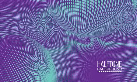Halftone background design with blue purple curved space abstraction. Monochrome printing raster of editable colors. 일러스트