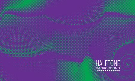 Halftone background design with green purple curved space abstraction. Monochrome printing raster of editable colors.