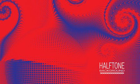 Halftone background design with red blue curved space abstraction. Futuristic printing raster of editable colors.