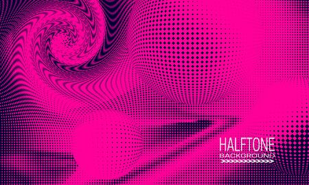 Halftone background design with pink blue curved space abstraction. Futuristic printing raster of spheres and spiral.