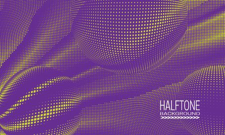 Halftone background design with yellow purple curved space abstraction. Futuristic printing raster of spheres.