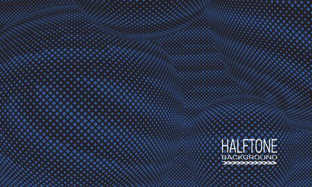 Halftone background design with blue black space abstraction. Futuristic printing raster of spheres.