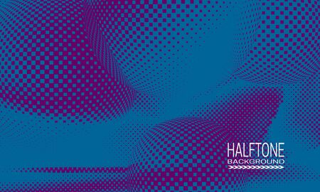 Halftone background design with blue purple space abstraction. Futuristic printing raster of spheres.