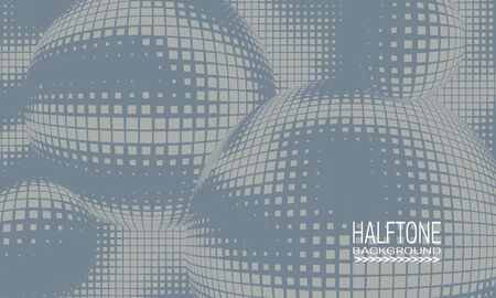 Halftone background design with gray monochrome space abstraction. Abstract printing raster of spheres.
