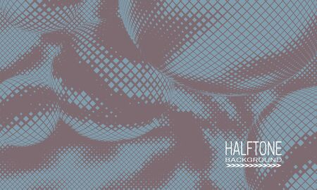 Halftone background design with blue beige space abstraction. Abstract printing raster of spheres. 일러스트