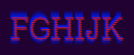 F, G, H, I, J, K vibrant letters. Red blue electric font.