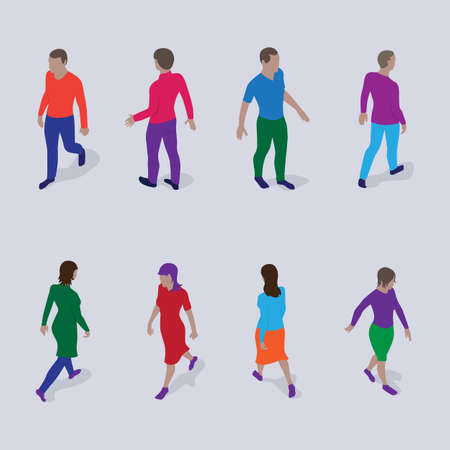 Isometric people set. Walking men and women in modern clothes.