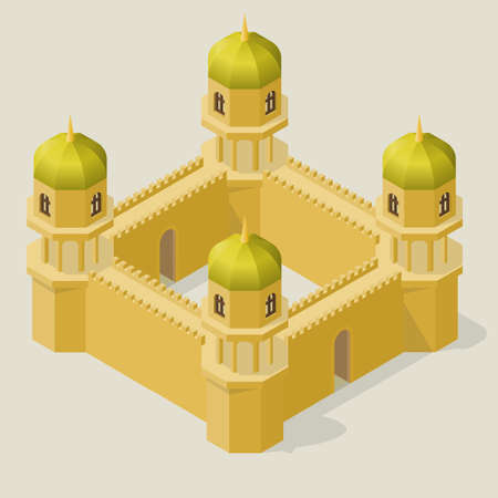 Isometric fortress with towers and walls. Fortifications in the Arabic style.