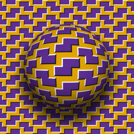 Rotating sphere of zigzag shapes pattern. Vector purple golden optical illusion background. Ilustrace