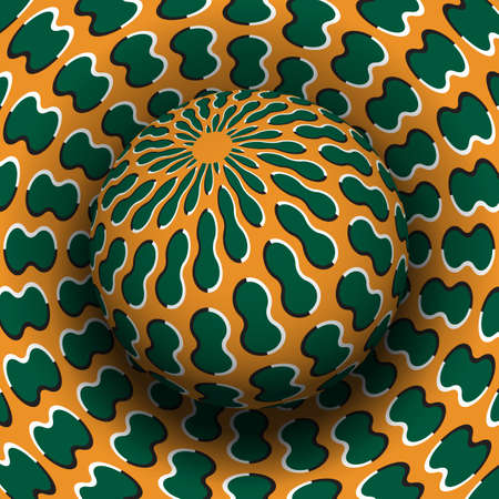 Optical illusion hypnotic vector illustration. Patterned green orange sphere soaring above the same surface.