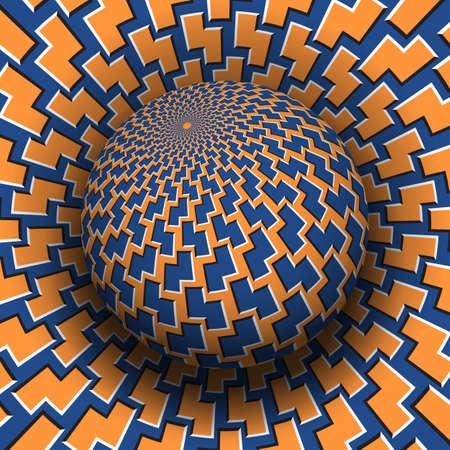 Optical illusion hypnotic vector illustration. Patterned blue orange globe soaring above the same surface. Illustration