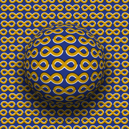 Rotating sphere of the infinity symbols pattern. Vector blue golden optical illusion background.