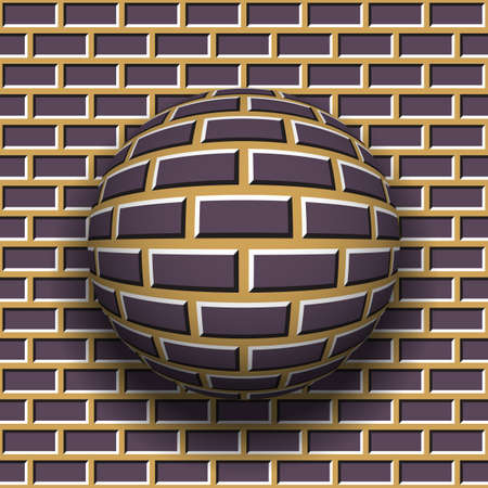 Rotating sphere of brickwork pattern on wall background. Vector optical illusion. Illustration