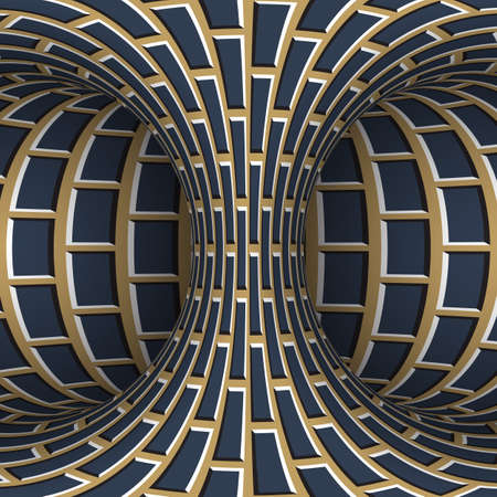 Moving torus of blue beige brickwork pattern. Vector hypnotic optical illusion illustration.