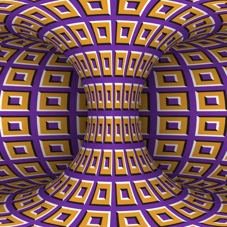 Moving torus of purple orange square pattern. Vector hypnotic optical illusion illustration.