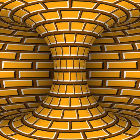 Moving torus of brown orange brickwork pattern. Vector hypnotic optical illusion illustration. Illustration