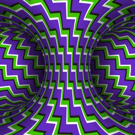 Moving zigzag patterned torus of purple green stripes. Vector hypnotic optical illusion illustration.