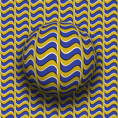 Rotating sphere of wavy quadrangles pattern. Vector blue golden optical illusion background.