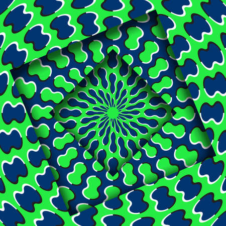 Abstract turned frames with a rotating blue green trippy pattern. Optical illusion hypnotic background.