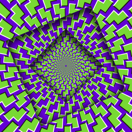 Abstract turned frames with a rotating purple green trippy pattern. Optical illusion hypnotic background.