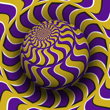 Optical illusion hypnotic vector illustration. Patterned purple golden globe soaring above the same surface.