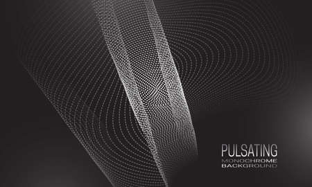Pulsating monochrome background design with vibrating flow of dots and lines. Abstract quantum background for banner, flyer or poster. Illustration