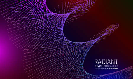 Radiant background design with iridescent dots and lines abstraction. Futuristic poster background.